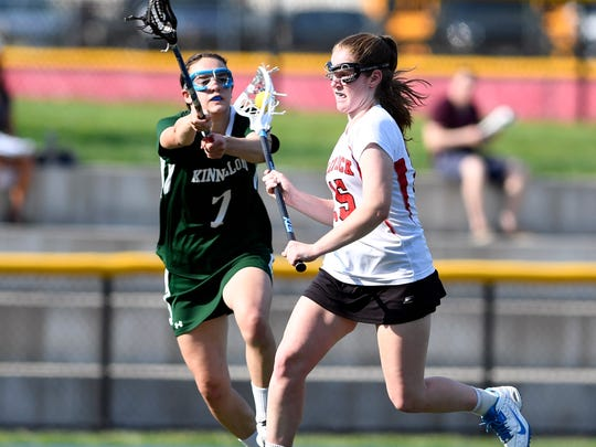 Glen Rock's Maggie Smith, right, attacking with pressure from Kinnelon's Taylor Smith, left. Glen Rock defeats Kinnelon 15-7 in the North 1, Group 1 quarterfinals on Thursday, May 18, 2017.