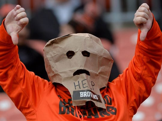 A Cleveland Browns fan during the fourth quarter against the Cincinnati Bengals on Dec. 5, 2015, at FirstEnergy Stadium.
