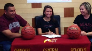 Cherokee senior Kendall Toineeta has signed to play college basketball for Lenoir-Rhyne.
