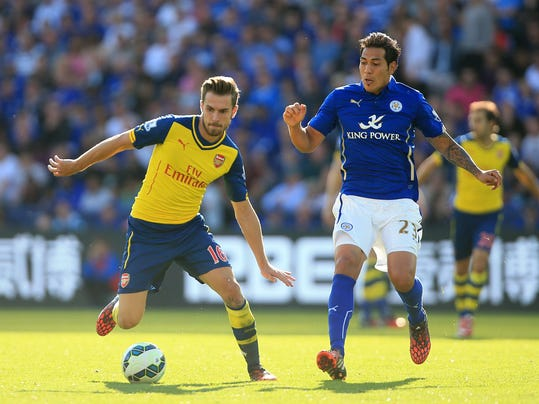 Leicester City's Leonardo Ulloa, right, and Arsenal's Aaron Ramsey during their English Premier League soccer match against at the King Power Stadium, Leicester, England, Sunday, Aug. 31, 2014. (AP Photo/Nick Potts, PA Wire)     UNITED KINGDOM OUT    -   NO SALES   -   NO ARCHIVES