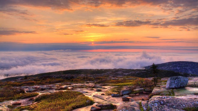 Pastel sunrise colors paint the sky over an ocean of clouds. Sunrises at Acadia National Park are the best!