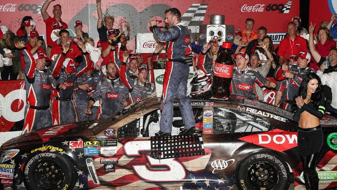 Austin Dillon celebrates winning the Coca-Cola 600 at Charlotte Motor Speedway.