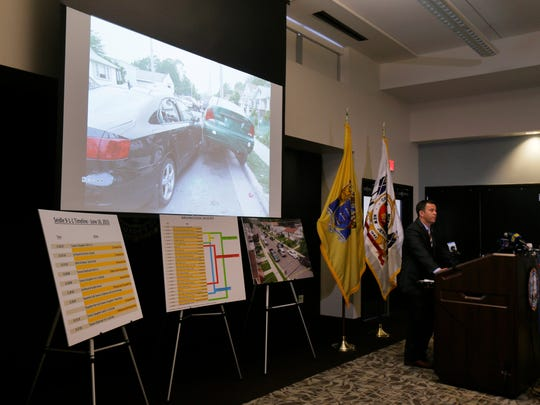 Monmouth County Acting Prosecutor Christopher J. Gramiccioni releases the findings of an internal review by the Monmouth County Prosecutor's Office surrounding the law enforcement response involving the June 16, 2015 brutal killing of Tamara Seidle in Asbury Park by her ex-husband, and off-duty Neptune Township police officer, Philip Seidel, during a news conference at the Monmouth County Prosecutor's Office in Freehold, NJ Thursday June 30, 2016.