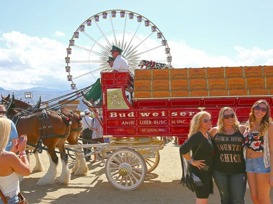 Stagecoach fans get a close up look at the Budweiser Clydesdales during the festival, May 1, 2016.