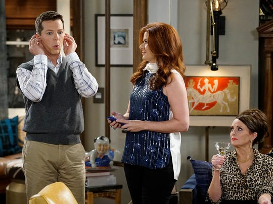 Sean Hayes (from left), Debra Messing and Megan Mullally