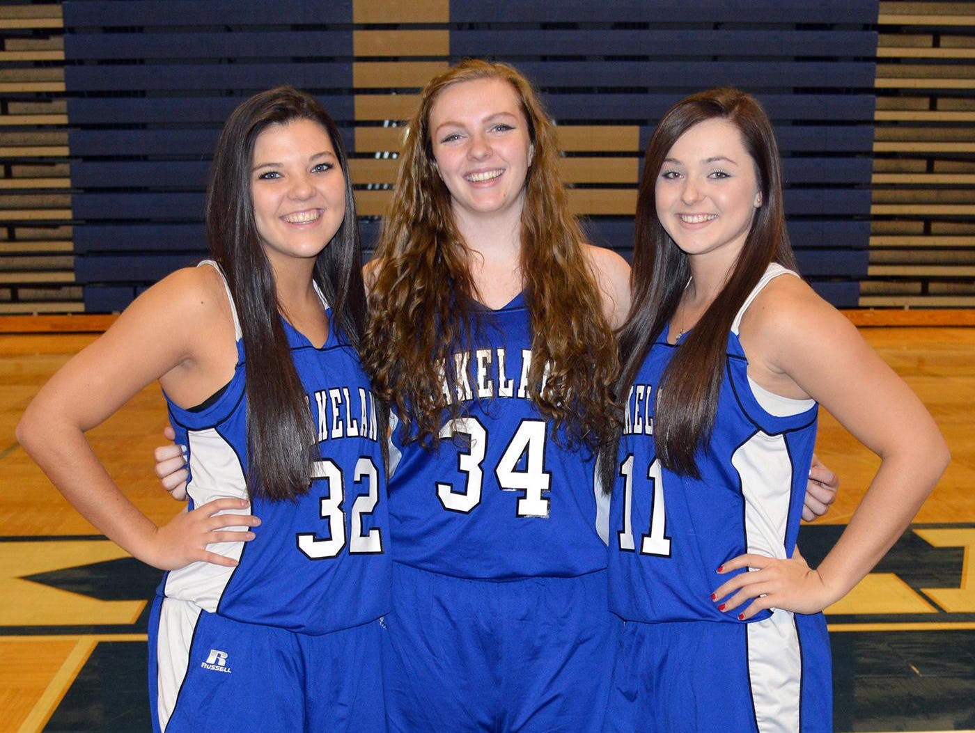 Lakeland's senior basketball class includes (from left) Molly Stec, Reina Troxell and Emilie Krom.
