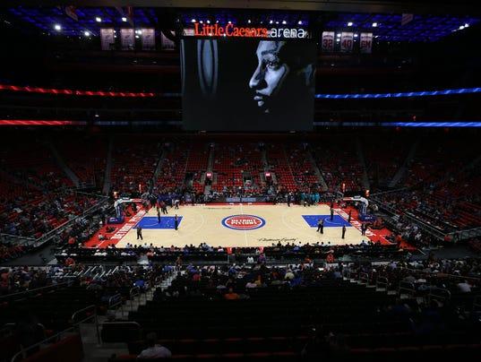 Little Caesars Arena scoreboard, Detroit Pistons Charlotte Hornets