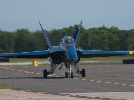 Touchdown on Thursday of a U.S. Navy Blue Angels F-18