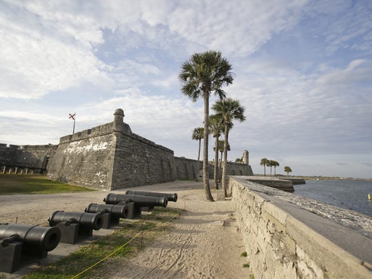 The Castillo de San Marcos fort, built more than 450 years ago, is separated from the Matanzas River by a sea wall in St. Augustine.