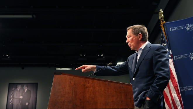 Gov. John Kasich's spokesman lashed out at Ohio House Republicans Wednesday. Here, Kasich makes a presidential campaign appearance in Manchester, N.H.