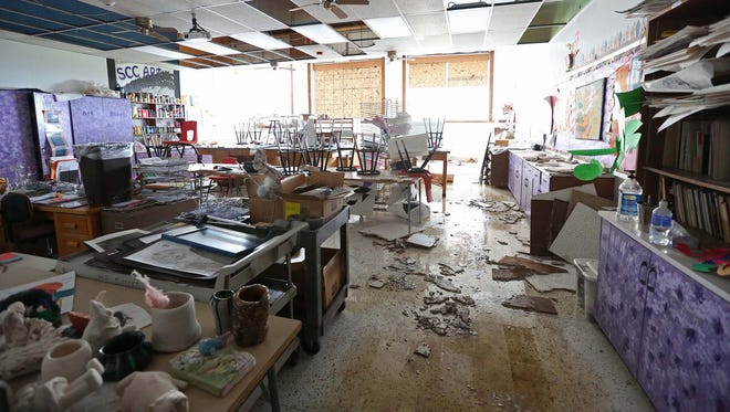 The South Central Calhoun High School art room was one of several on the second and third floor of the building that was damaged after a tornado blew the roof off on Sunday, May 10, 2015.