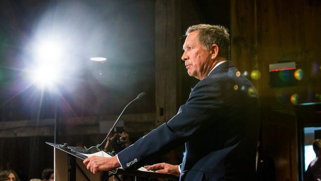 Gov. John Kasich announces that he is suspending his GOP presidential run at a press conference in May.