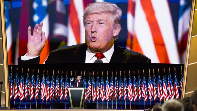 Donald Trump speaks on the final night of the Republican National Convention at Quicken Loans Arena in Cleveland, Ohio Thursday, July 21, 2016.