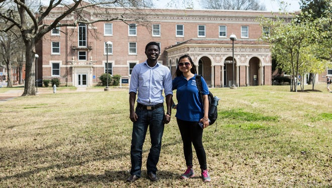 March 21, 2017 - John Appiah-Kubi (left) from Ghana and Kanika Singh (right) from India are both international students studying at the University of Memphis. Appiah-Kubi is studying for a doctorate degree in statistics and Singh is studying for a master's degree in international business. Since the presidential election, the University of Memphis has seen a drop in international applications.