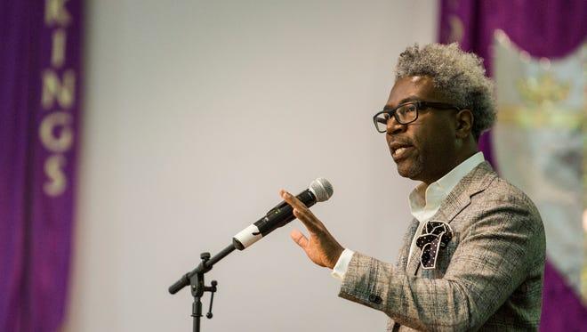 March 30, 2017 - Cornell Blecher speaks during the NAACP Memphis branch centennial kick-off celebration at First Baptist Broad Church. Belcher is an author, pollster and progressive political strategist.