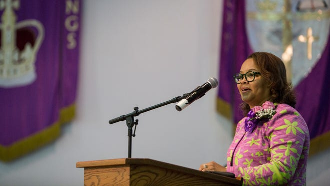 March 30, 2017 - Deidre Malone, president of the NAACP Memphis Branch, introduces guest speaker Cornell Blecher during the NAACP Memphis branch centennial kick-off celebration.