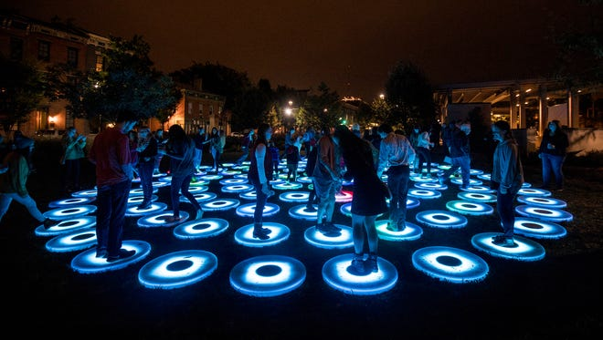 Jen Lewin Studio produced ÒThe Pool,Ó installed in Washington Park as part of Blink Cincinnati. The free, four-day art and light festival transformed 20 city blocks with art experiences, installations, large-scale video projections and murals.