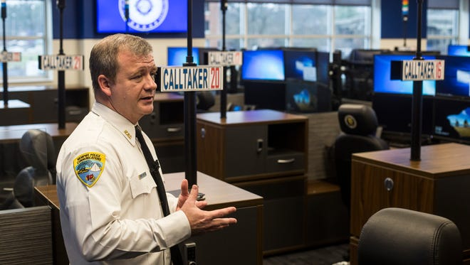 Mike Spencer, the emergency communications administrator for the Memphis Police Department, shows off the new Memphis Police 911 Call Center on Thursday. The call center is a state-of-the-art facility just above the existing fire dispatch offices at 79 Flicker Street.