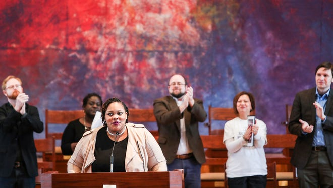 January 20, 2018 - Tami Sawyer speaks during the Memphis Women's March to the Polls rally at First Congregational Church. Sawyer is running for Shelby County Commission District 7. On the anniversary of the Memphis Women's March, participants are preparing for the 2018 midterm elections.