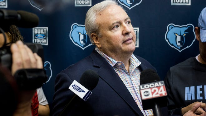 February 09, 2018 - Chris Wallace, general manager of the Grizzlies, speaks during a press conference at the FedExForum.