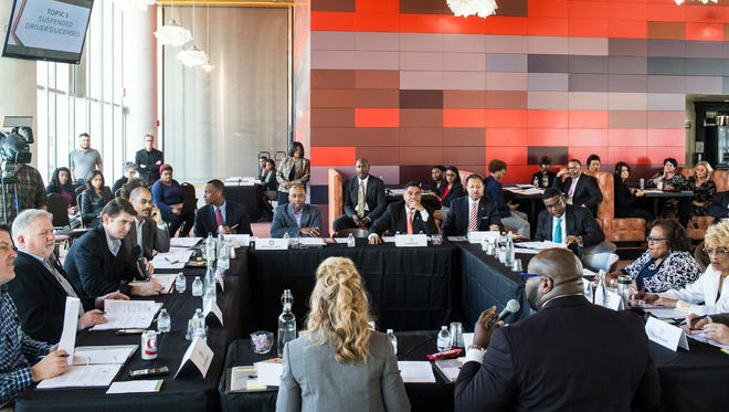 March 01, 2018 - Memphis City Council chairman Berlin Boyd, right, speaks during a joint public meeting with the Memphis City Council and the Shelby County Commission at Beale Street Landing. The agenda included talking about suspended driver's licenses and sustainable prekindergarten legislation among other topics.