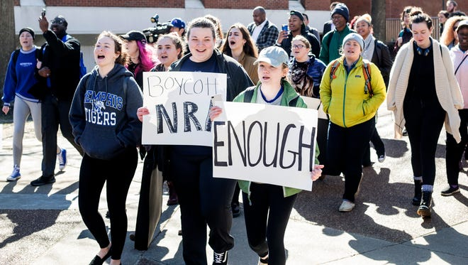 Students gather at the University of Memphis for a walkout against gun violence on March 14, 2018. Students at thousands of schools nationwide plan to stage walkouts on April 20, the 19th anniversary of the Columbine High School shooting.