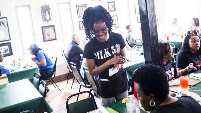 Deryl Gasque takes customers orders at the Four Way on March 23, 2018. The Four Way is a soul food restaurant that has been in the Soulsville neighborhood since 1946.