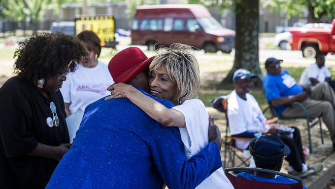 May 01, 2018 - Janis Fullilove, right, hugs Glen Brunt while campaigning at Whitehaven Community Center on Election Day on Tuesday. Fullilove is running in the Democratic primary for the Shelby County Juvenile Court Clerk.