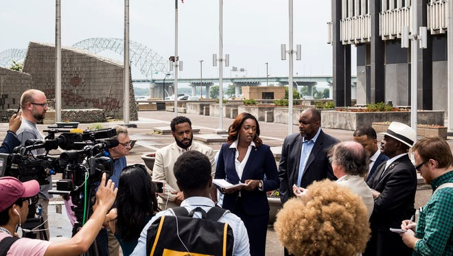 July 06, 2018 - London Lamar, president of Tennessee Young Democrats in Memphis, speaks during a press conference at the Civic Center Plaza Friday afternoon. The Shelby County Democratic Party and the Memphis NAACP filed separate lawsuits Friday in an attempt to open inner-city early voting sites at the start of early voting.