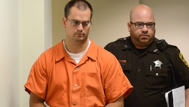 School teacher Wayne Makela appears in Brown County Court Commissioners Room A for a preliminary hearing, Thursday, July 10, 2014.
