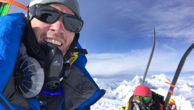 Mountaineers Adrian Ballinger and Emily Harrington skied from the summit of Cho Oyu, elevation 26,906 feet.