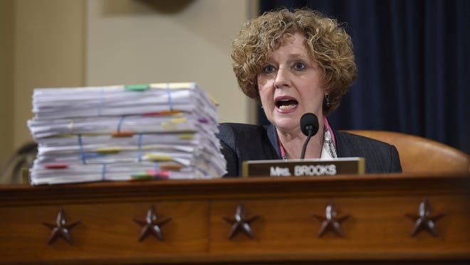 Indiana Rep. Susan Brooks was among committee members who questioned former Secretary of State and Democratic presidential hopeful Hillary Clinton as she testified before the House Select Committee on Benghazi in Washington on Oct. 22, 2015.