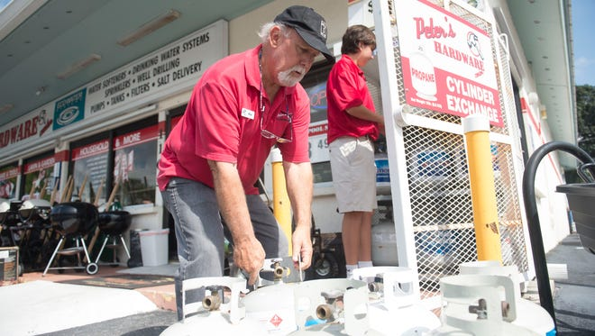 """Dozens of patrons shopped for Hurricane Irma supplies in preparation for the storm on Monday, Sept. 4, 2017 at Peter's Hardware Center in Palm City. """"This is not our first rodeo,"""" said store owner Peter Wernick, who has been collecting hurricane supply inventory for years and says the most popular hurricane items he sells are propane, batteries, flashlights, rope and straps, tarps, nut and bolts and water. Peter's Hardware was busier than normal and expected to sell out the Monday propane supply by noon. """"I think last year's storm brought to everyone's mind how underprepared we were. With Harvey last week, I think it brought attention as well."""""""