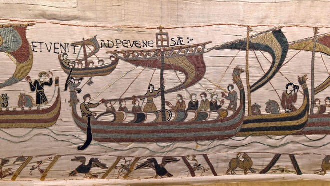 A handout photo obtained on Jan. 17, 2018 from the Bayeux town hall shows the Bayeux Tapestry, which dates from around 1077 and depicts the Battle of Hastings when William the Conqueror, the duke of Normandy, defeated English forces in southern England.