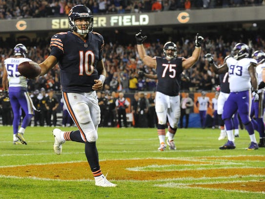 Mitchell Trubisky runs into the end zone after a razzle-dazzle