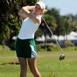 Taylor Rajeski of Viera drives off the tee during the Cape Coast Conference girls golf tournament Tuesday.