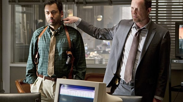 "Kal Penn (left) plays Detective Fontanelle White and Dean Winters is Detective Russ Agnew in the CBS police drama ""Battle Creek,"" premeiring March 1."