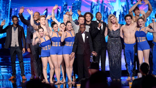 From left: Sons of Serendip, AcroArmy, Miguel Dakota, Quintavious Johnson, Nick Cannon, Emily West.