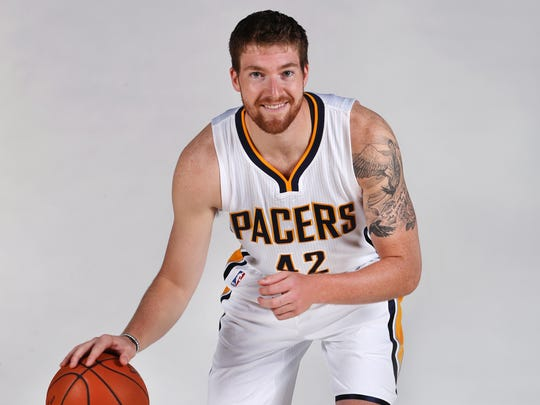 Indiana Pacers player Shayne Whittington strikes a pose at Pacers media day at Bankers Life Fieldhouse in Indianapolis on Monday, September 28, 2015.