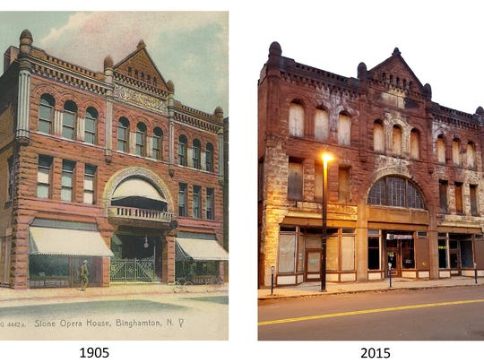 """The Stone Opera House in Binghamton (seen here in 1905 and 2015) plays a role in """"The Tumbling Turner Sisters."""""""