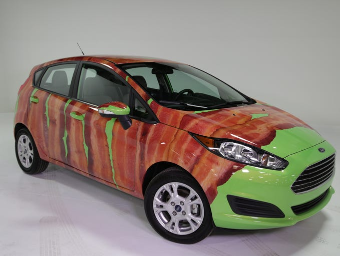 Ford is offering a wrap that shows strips of bacon for its Fiesta