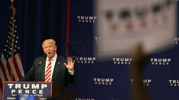 Donald Trump speaks during a campaign rally Sept. 22,
