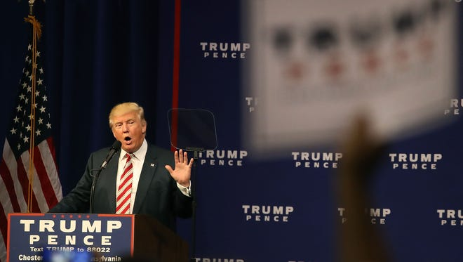 Donald Trump speaks during a campaign rally Sept. 22, 2016 in Aston, Pa.