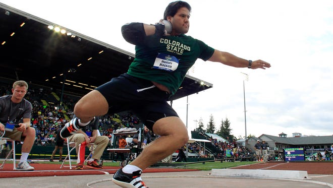 CSU's Mostafa Hassan, shown at last year's NCAA Outdoor Championships in Eugene, Ore., earned a return trip to the national championships Friday by winning the men's shot put at the NCAA West Preliminary meet in Austin, Texas.