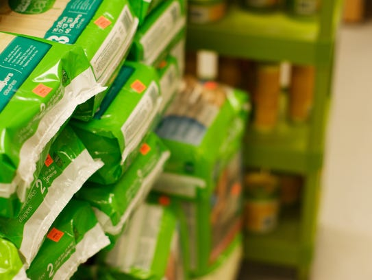 Pet-food backs can't be recycled. Food waste can contaminate