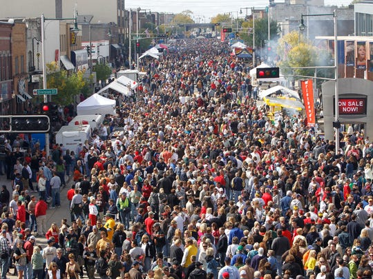 College avenue is packed with pedestrians during Appleton's Octoberfest in 2010.