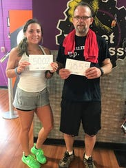 Joe Leuck with Brooke Murley, a fitness coach who challenged