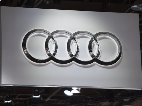 The Audi logo during the 2017 North American International