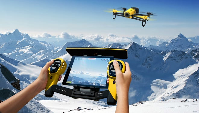 The Parrot Bebop drone with optional Skycontroller that works with a smartphone or tablet.