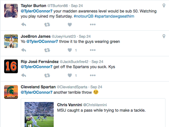 MSU quarterback Tyler O'Connor has been a popular target